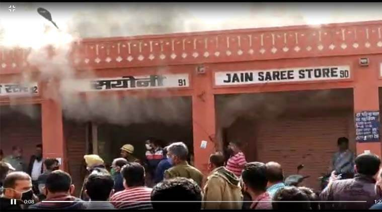 Fire in Bangle shop (shop no. 91) in Bapu market of Jaipur, no more damage to goods