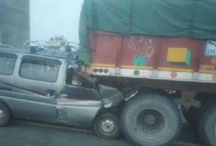 Van rammed into truck in Chaksu, 6 youths going to take reet exam died, 5 injured