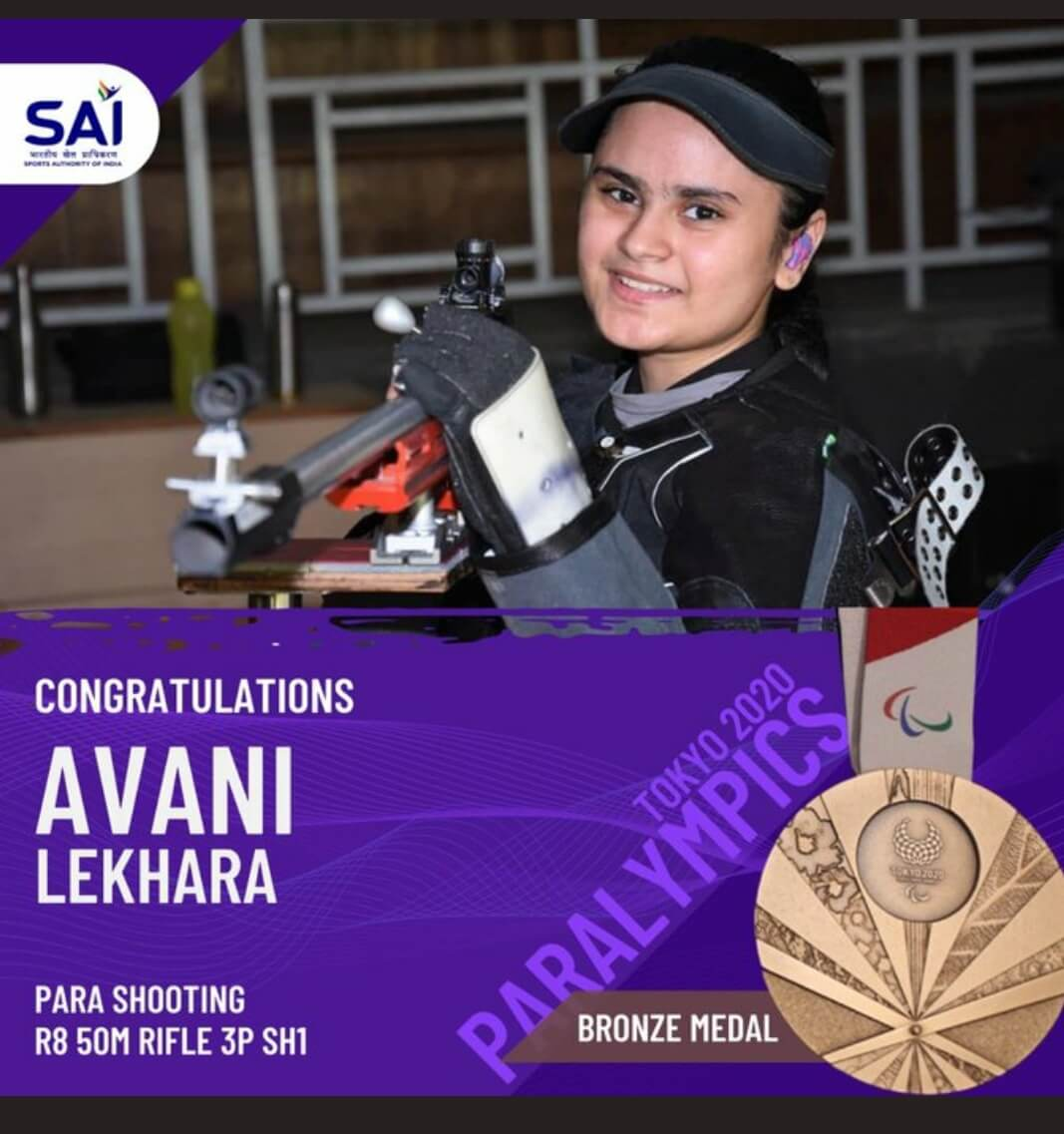 Avani won bronze medal in 50m air rifle after gold